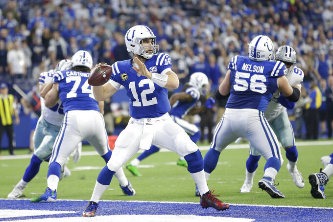 FILE - In this Dec. 16, 2018, file photo, Indianapolis Colts quarterback Andrew Luck (12) prepares to throw during the first half of an NFL football game against the Dallas Cowboys, in Indianapolis. The Colts are 4-0 in the postseason against the Chiefs, 2-0 at Arrowhead Stadium. They are on quite a roll from going 1-5, with an efficient offense that protects its quarterback better than any team, allowing sacks on only 2.7 percent of Andrew Luck's passes. That could be a key because the Chiefs' defense is one-dimensional, with a strong pass rush but otherwise plenty of holes.(AP Photo/AJ Mast)