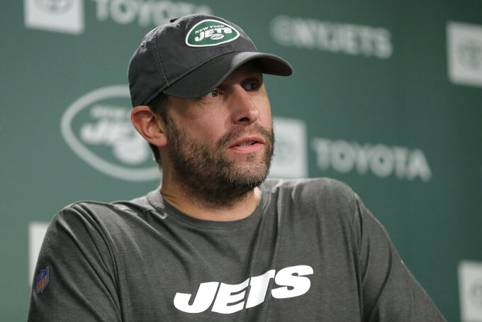 FILE - In this June 4, 2019, file photo, New York Jets head coach Adam Gase talks to reporters at the team's NFL football training facility in Florham Park, N.J. The New York Jets made lots of major changes in the offseason. The Buffalo Bills did, too. The AFC East rivals are looking for much better results this season _ starting with Sunday's opening game at MetLife Stadium. (AP Photo/Julio Cortez, File)