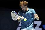 Russia's Daniil Medvedev returns a shot against Norway's Casper Ruud during their ATP Cup tennis match in Perth, Australia, Tuesday, Jan. 7, 2020. (AP Photo/Trevor Collens)