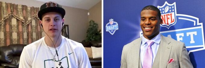 FILE - At left, in an April 23, 2020, file photo from video provided by the NFL, LSU quarterback Joe Burrow appears during the NFL football draft. At right, in an April 28, 2011, file photo, Auburn quarterback Cam Newton poses at the NFL Draft in New York. Burrow should be getting ready to report to rookie minicamp this month then joining the veterans on the Cincinnati Bengals for the rest of the offseason program. The best comparison to what the NFL is going through this offseason with no practices, in-person meetings or the usual bonding that happens each spring came back in 2011 when the owners locked out the players until July, and Cam Newton was the No. 1 pick at the draft. (AP Photo/File)