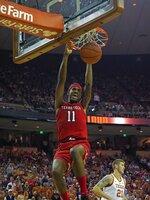 Texas Tech forward Tariq Owens (11) dunks the ball during the first half of an NCAA college basketball game against Texas, Saturday, Jan. 12, 2019, in Austin, Texas. (AP Photo/Michael Thomas)