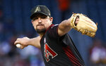 Arizona Diamondbacks starting pitcher Zack Godley throws to a San Francisco Giants batter during the first inning of a baseball game Saturday, May 18, 2019, in Phoenix. (AP Photo/Ralph Freso)