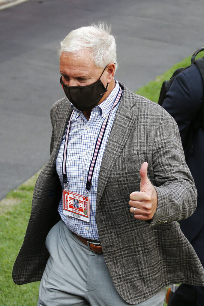 Cleveland Browns owner Jimmy Haslam gives a thumbs up after the Browns defeated the Washington Football Team 34-20 in an NFL football game, Sunday, Sept. 27, 2020, in Cleveland. (AP Photo/Ron Schwane)