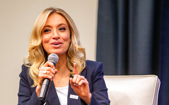 In this Thursday, Jan. 16, 2020, photo, Kayleigh McEnany speaks during a Women for Trump event at the Holiday Inn in Des Moines, Iowa. McEnany, a top Trump campaign spokeswoman, will take over as Trump's fourth press secretary, the White House announced Tuesday, April 7, 2020. (Zach Boyden-Holmes/The Des Moines Register via AP  )