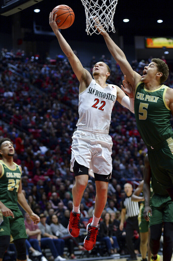 San Diego State guard Malachi Flynn (22) goes to the basket while defended by Cal Poly forward Mark Crowe (5) during the first half of an NCAA college basketball game Saturday, Dec. 28, 2019, in San Diego. (AP Photo/Orlando Ramirez)