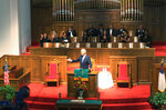 Former Vice President and presidential candidate Joe Biden attends a service at 16th Street Baptist Church in Birmingham, Ala., Sunday, Sept. 15, 2019. Visiting the black church bombed by the Ku Klux Klan in the civil rights era, Democratic presidential candidate Biden said Sunday the country hasn't