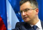Slovenia's prime minister Marjan Sarec talks to a reporter during an interview with the Associated Press in Ljubljana, Slovenia, Tuesday, April 23, 2019. (AP Photo/Darko Bandic)