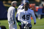 Seattle Seahawks linebacker Shaquem Griffin runs on the field during NFL football training camp, Thursday, Sept. 3, 2020, in Renton, Wash. (AP Photo/Ted S. Warren)
