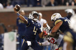 Georgia Tech quarterback James Graham (4) throws under pressure from North Carolina State defensive tackle Larrell Murchison (92) during the first half of an NCAA college football game Thursday, Nov. 21, 2019, in Atlanta. (AP Photo/John Bazemore)