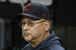 Cleveland Indians manager Terry Francona looks out of the dugout before the team's baseball game against the Chicago White Sox, Thursday, Sept. 26, 2019, in Chicago. (AP Photo/David Banks)