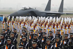 South Korean Army soldiers participate in the 71st anniversary of Armed Forces Day at the Air Force Base in Daegu, South Korea Tuesday, Oct. 1, 2019. (Jeon Heon-kyun/Pool Photo via AP)