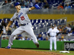 Los Angeles Dodgers' Walker Buehler winds up during the first inning of the team's baseball game against the Miami Marlins, Wednesday, May 16, 2018, in Miami. (AP Photo/Wilfredo Lee)