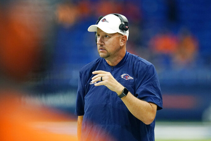 UTSA coach Jeff Traylor watches from the sideline during the second half of the team's NCAA college football game against Lamar, Saturday, Sept. 11, 2021, in San Antonio. (AP Photo/Eric Gay)