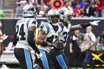 Carolina Panthers defensive back Ross Cockrell (47) celebrates his interception against the Houston Texans during the first half of an NFL football game Sunday, Sept. 29, 2019, in Houston. (AP Photo/Eric Christian Smith)