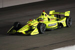 Simon Pagenaud races his car during the IndyCar Series auto race Saturday, July 20, 2019, at Iowa Speedway in Newton, Iowa. (AP Photo/Charlie Neibergall)