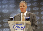 Wake Forest head coach Dave Clawson answers a question during a news conference at the NCAA Atlantic Coast Conference college football media day in Charlotte, N.C., Thursday, July 19, 2018. (AP Photo/Chuck Burton)