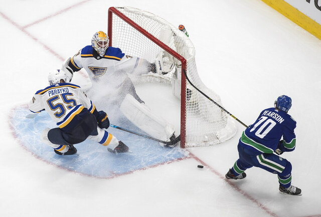 Vancouver Canucks' Tanner Pearson (70) is stopped by St. Louis Blues goalie Jake Allen (34) as Colton Parayko (55) defends during the second period of an NHL Western Conference Stanley Cup playoff series, in Edmonton, Alberta, Friday, Aug. 21, 2020. (Jason Franson/The Canadian Press via AP)