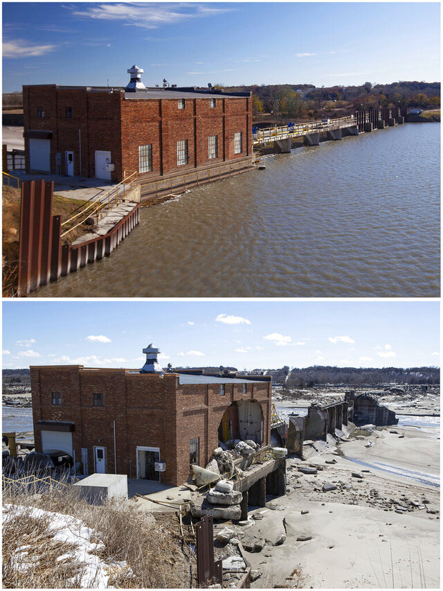 FILE - This combination of file photos provided by the Nebraska Department of Natural Resources, shows the Spencer Dam near Spencer, Neb., in November 2013, top, when it was holding back water on the Niobrara River and again in March 2019, after the dam failed during a flood. The dam that collapsed under pressure from an icy flood had a history of unaddressed ice issues and had no formal emergency plan because regulators wrongly assumed that no one would die if it failed, according a report released Tuesday April, 21, 2020. (Nebraska Department of Natural Resources via AP)
