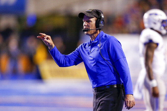 FILE - Air Force head coach Troy Calhoun gestures during the first half of an NCAA college football game against Boise State in Boise, Idaho, in this Friday, Sept. 20, 2019, file photo. The Air Force Falcons are picked to finish third in their division of the Mountain West in a preseason poll. (AP Photo/Steve Conner, File)