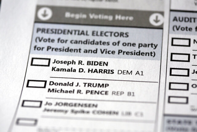 A mail-in official ballot for the 2020 General Election in the United States is shown Monday, Oct. 12, 2020 in Havertown, Pa. (AP Photo/Jacqueline Larma, File)