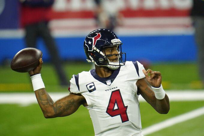 Houston Texans quarterback Deshaun Watson throws during the first half of an NFL football game against the Detroit Lions, Thursday, Nov. 26, 2020, in Detroit. (AP Photo/Paul Sancya)