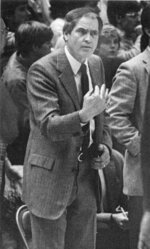 In this Jan. 14, 1984 photo, Wake Forest basketball coach Carl Tacy coaches the Deacons during an NCAA college basketball game against North Carolina in Winston-Salem N.C. Tacy, the Former Wake Forest and Marshall basketball coach, died died early Thursday, April 2, 2020. He was 87. (Tom Rogers/The Winston-Salem Journal via AP)