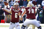 Boston College quarterback Dennis Grosel passes in the first half of an NCAA college football game against Florida State, Saturday, Nov. 9, 2019, in Boston. (AP Photo/Bill Sikes)
