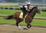 Kentucky Derby hopeful War of Will is ridden during a workout at Churchill Downs Tuesday, April 30, 2019, in Louisville, Ky. The 145th running of the Kentucky Derby is scheduled for Saturday, May 4. (AP Photo/Charlie Riedel)