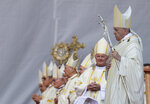 Pope Francis arrives to preside over the celebration of Divine Liturgy and the beatification of seven martyred bishops of the Eastern-rite Romanian Catholic Church, in Blaj, Romania, Sunday, June 2, 2019. Francis was traveling across Romania to visit its far-flung Catholic communities to make up for the fact that St. John Paul II was only allowed to visit the capital, Bucharest, in 1999 in the first papal visit to a majority Orthodox country. (AP Photo/Andrew Medichini)