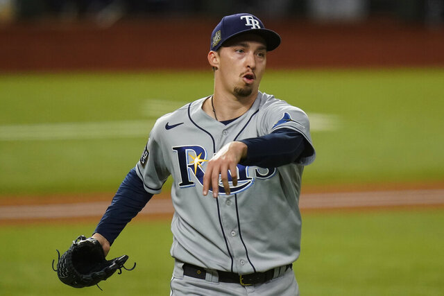Tampa Bay Rays starting pitcher Blake Snell celebrates the end of the fifth inning against the Los Angeles Dodgers in Game 6 of the baseball World Series Tuesday, Oct. 27, 2020, in Arlington, Texas. (AP Photo/Eric Gay)