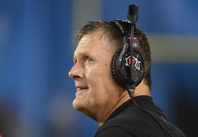 Utah head coach Kyle Whittingham looks on from the sideline during the second half of the Holiday Bowl NCAA college football game against Northwestern, Monday, Dec. 31, 2018, in San Diego. (AP Photo/Denis Poroy)
