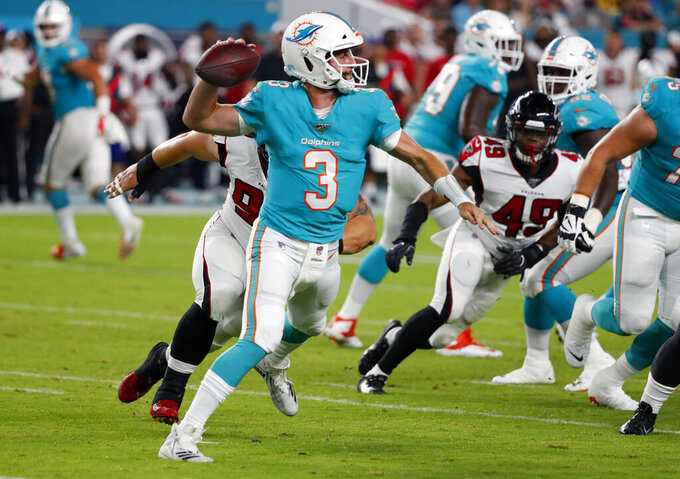 Miami Dolphins quarterback Josh Rosen (3) throws a pass during the first half of the team's preseason NFL football game against the Atlanta Falcons, Thursday, Aug. 8, 2019, in Miami Gardens, Fla. (AP Photo/Wilfredo Lee)