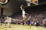 Indiana's Justin Smith (3) goes up for a dunk during the first half of an NCAA college basketball game against South Dakota State, Saturday, Nov. 30, 2019, in Bloomington, Ind. (AP Photo/Darron Cummings)