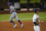 Los Angeles Dodgers' Justin Turner rounds the bases after a home run off Tampa Bay Rays starting pitcher Charlie Morton during the first inning in Game 3 of the baseball World Series Friday, Oct. 23, 2020, in Arlington, Texas. (AP Photo/Eric Gay)