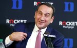 Duke's Mike Krzyzewski laughs while speaking during an NCAA college basketball media day at Cameron Indoor Stadium in Durham, N.C., Monday, Sept. 23, 2019. (Ethan Hyman/The News & Observer via AP)