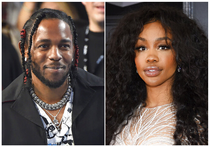This combination photo shows musician Kendrick Lamar, left, and Solana Rowe, better known as SZA, who, along with Mark Spears and Anthony Tiffith, were nominated for an Oscar for best original song for