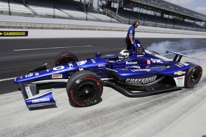 Ed Carpenter pull out of the pits during practice for the Indianapolis 500 IndyCar auto race at Indianapolis Motor Speedway, Tuesday, May 14, 2019 in Indianapolis. (AP Photo/Darron Cummings)