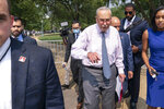 Senate Majority Leader Chuck Schumer, D-N.Y., speaks on immigration, on Capitol Hill, in Washington, Wednesday, July 21, 2021. (AP Photo/Jose Luis Magana)
