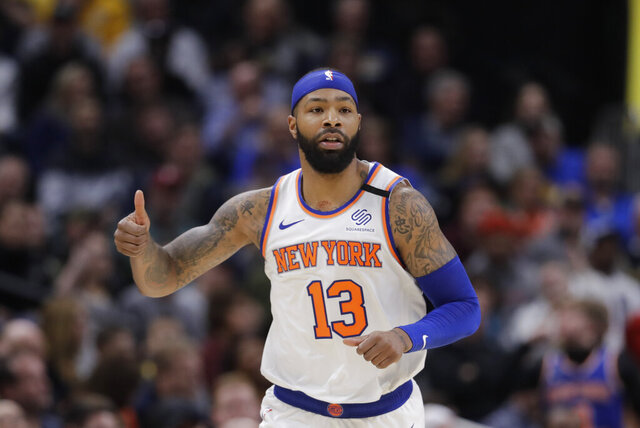 New York Knicks' Marcus Morris Sr. reacts during the second half of the team's NBA basketball game against the Indiana Pacers, Saturday, Feb. 1, 2020, in Indianapolis. New York won 92-85. (AP Photo/Darron Cummings)