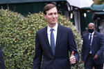 White House senior adviser Jared Kushner gives thumbs up as he walks back to the West Wing after a television interview at the White House, Monday, Oct. 26, 2020, in Washington. (AP Photo/Alex Brandon)