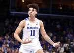 Memphis guard Lester Quinones celebrates after a basket in the second half of an NCAA college basketball game against Tulane, Monday, Dec. 30, 2019, in Memphis, Tenn. (AP Photo/Karen Pulfer Focht)