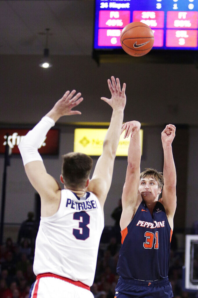 Pepperdine forward Jan Zidek (31) shoots over Gonzaga forward Filip Petrusev (3) during the first half of an NCAA college basketball game in Spokane, Wash., Saturday, Jan. 4, 2020. (AP Photo/Young Kwak)