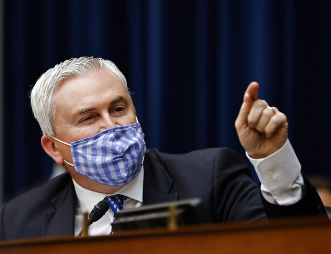 Ranking Member Rep. James Comer, R-Ky., speaks during a House Oversight and Reform Committee hearing on the District of Columbia statehood bill, Monday, March 22, 2021 on Capitol Hill in Washington. (Carlos Barria/Pool via AP)