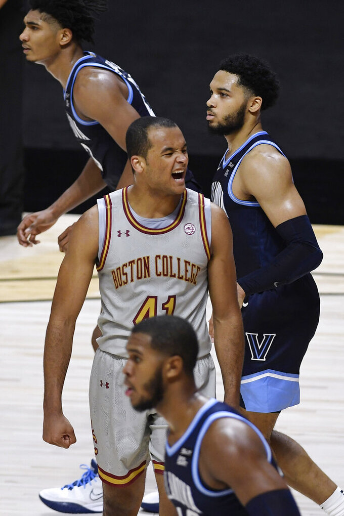 Boston College's Steffon Mitchell reacts to a call of traveling against Villanova during the first half of an NCAA college basketball game Wednesday, Nov. 25, 2020, in Uncasville, Conn. (AP Photo/Jessica Hill)
