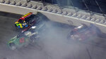 William Byron (24), Ross Chastain (42), and Garrett Smithley (13) crashduring the second NASCAR Daytona 500 duel qualifying auto race Friday, Feb. 12, 2021, at the Daytona International Speedway in Daytona Beach, Fla. (AP Photo/Chris O'Meara)