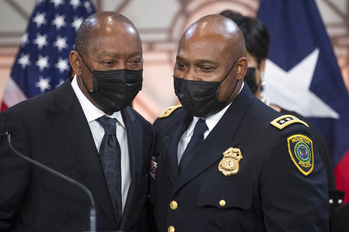 Houston Police Chief New Houston Police Chief Troy Finner embraces Mayor Sylvester Turner after he is sworn in as HPD's newest leader during a ceremony at City Hall Monday, April 5, 2021, in Houston. Finner is a 54-year-old veteran who hails from Fifth Ward and attended Madison High School in Houston. He formally takes the reins of the police department, the same day that outgoing Chief Art Acevedo is sworn in as chief in Miami. (Brett Coomer/Houston Chronicle via AP)