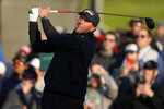 Phil Mickelson tees off on the 10th hole during the first round of the Genesis Invitational golf tournament at Riviera Country Club, Thursday, Feb. 13, 2020, in the Pacific Palisades area of Los Angeles. (AP Photo/Ryan Kang)