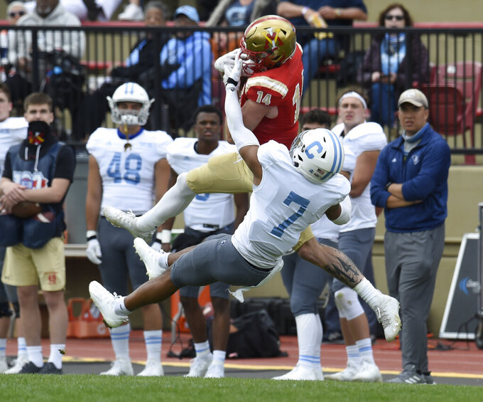 FILE - VMI receiver Jakob Herres pulls down a pass over The Citadel's Destin Mack during an NCAA college football game in Lexington, Va., in this Saturday, April 17, 2021, file photo. Herres is a member of The Associated Press FCS All-America team, announced Wednesday, May 12, 2021. (David Hungate/Roanoke Times via AP, File)/The Roanoke Times via AP, File)