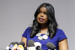 FILE - In this Feb. 22, 2019 file photo, Cook County State's Attorney Kim Foxx speaks at a news conference, in Chicago. Text messages show Fox, the Chicago prosecutor whose office handled the case of