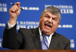 FILE - In this April 4, 2017 file photo, AFL-CIO president Richard Trumka speaks at the National Press Club in Washington. The longtime president of the AFL-CIO labor union has died. News of Richard Trumka's death was announced Thursday by President Joe Biden and Senate Majority Leader Chuck Schumer. Trumka was 72 and had been AFL-CIO president since 2009, after serving as the organization's secretary-treasurer for 14 years.. (AP Photo/Alex Brandon)
